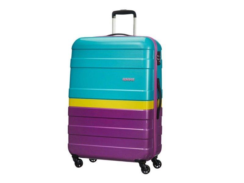 Duża walizka AMERICAN TOURISTER 76A Pasadena turkusowo-fioletowa z żółtym pasem