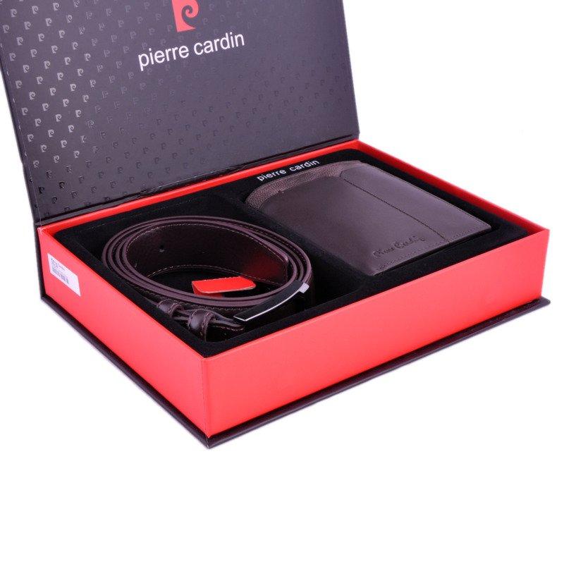 74f1741a2934c Zestaw prezentowy męski PIERRE CARDIN ZG-36 ciemny brąz - portfel + pasek